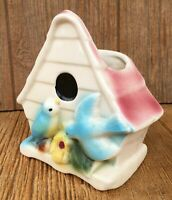 Vintage McCoy Shawnee USA Pottery Bird House Wall Pocket Planter Vase Blue Pink