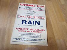 Sarah Churchill in RAIN by Somerset Maugham  Bristol HIPPODROME Original Poster