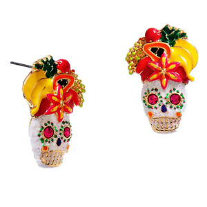 NWT Betsey Johnson Rio Skull & Fruit Stud Earrings Gold Plate Fruity Headpiece
