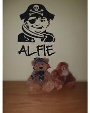 Pirate Personalised Name Sticker Decal Bedroom/Wall/Door Vinyl Any Colour