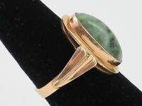 Vintage Soviet 6.5CT Natural Raw Emerald Cabochon 14K Gold Ring size 8.5, 6.5g