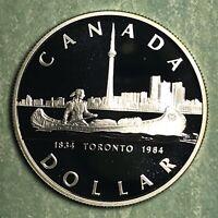 1984 CANADA DOLLAR CANOE SILVER COMMEMORATIVE PROOF COIN, FREE SHIPPING