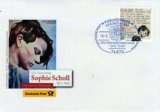 Deutschland - Dt. Post EB-Team Kuvert Nr. 257 100. Geb.tag Sophie Scholl 2021