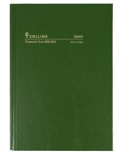 Collins 2020 - 2021 Financial Year Diary A5 Day to Page Green Hardcover 18M4 DTP