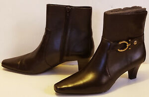 "AK ANNE KLEIN iflex BROWN LEATHER side zip GRETA ankle BOOTS 2"" heel size 7.5"