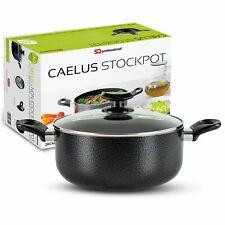 Black Induction Stock Pot Casserole Cookware Pan Pot & Lid Non Stick Aluminium