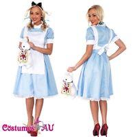 Deluxe Womens Alice in Wonderland Costume Halloween Book Week Girls Fancy Dress