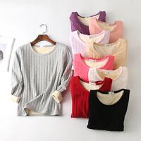 Autumn Winter Women Plus Velvet Long Sleeve Basic Plain Scoop Neck T-shirt Tops