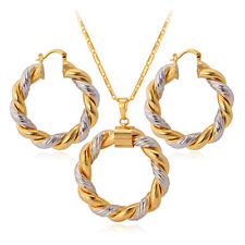 18K Real Gold Plated Trendy Round Pendant Necklace Earrings Women Jewellery Set