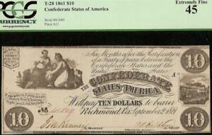 1861 $10 DOLLAR BILL CONFEDERATE STATES CURRENCY CIVIL WAR NOTE T-28 PCGS 45