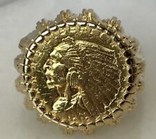 Incredible 14k Yellow Gold Indian Head Coin Ring