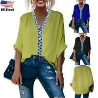 Women's Ladies Casual Loose V-Neck Batwing Sleeve Tunic Blouse Top T-Shirt US