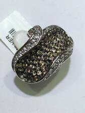 Platinum Sterling Silver Chocolate White Sapphire Pave Swirl Wide Band Rings Sz7