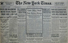 3-1935 March 21 Police End Harlem Riot. Louis Wiley Times Manager Dead 80th