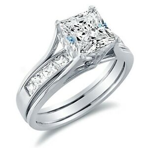 3Ct White Princess Cut Diamond Inside Out Wedding Ring Set 925 Sterling Silver