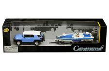 TOYOTA FJ CRUISER W/SPEED BOAT & TRAILER BLUE 1/43 DIECAST CAR BY CARARAMA 48116