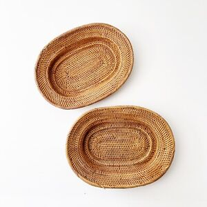 Hand Woven Baskets Oval x Two / Shallow & Tightly Woven Quality Made