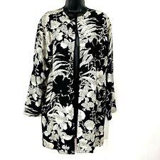 Louis Feraud jacket vintage 6 black silk floral open West Germany blazer drape