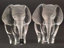 2X Mats Jonasson ROYAL KRONA Crystal Glass Elephant Paperweight Bookends SWEDEN