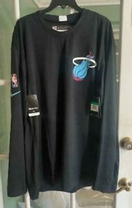 Men Miami Heat Nike Dri-Fit NBA Long Sleeve Shirt Black AV0997-010 Size XXL-TALL