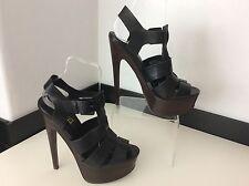 TOPSHOP Black Leather Strap Heels Shoes Size 40 Uk Peep Toe Vgc Women's Ladies