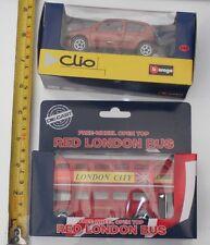 Original Die Cast Free Wheel Open Top Red London Bus Souvenir + Renault Clio