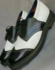 Vintage LEATHER Wingtip Black White Men's Golf Shoes Spikes need Repair 9 eee