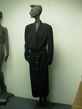 VINTAGE ST JOHN COUTURE BLACK KNIT CLASSIC LONG DRESS w GOLD BUTTONS SIZE 8