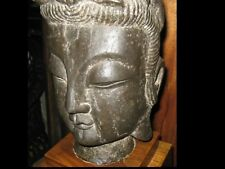 Antique Large Chinese Carved Stone Buddha Head 36 Lbs. & Beautiful Wood Stand