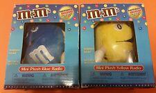 Lot of 2 M&M'S Plush Radios - Yellow & Blue AM/FM Radio Headphones Included NIP