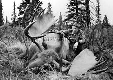 ANTIQUE REPRO 8X10 PRINT OF FAMED MICHIGAN BOWHUNTER FRED BEAR WITH MOOSE > #3