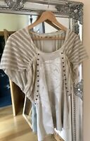 Ladies Top Sz 12 14 (3) Angels Never Die Beige Cream Lace Blogger Lagenlook Boho