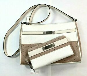 GUESS Womens Bandon Cross-Body Bag Purse with Clutch Wallet WHITE MULTI