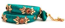 Indian Turquoise Blue  Color Silk Thread Wrapped Latkan BanglesSet Stone Size2.8