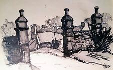 Anwesen in der Bretagne Original handsignierte Zeichung, monogrammiert SM70
