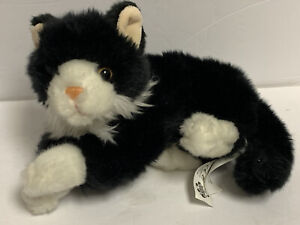 "Toys R Us Tuxedo Black White Kitty Cat Kitten Plush 10"" Stuffed Animal Realistic"