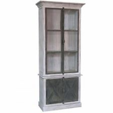 White x White Ansley Vitrine Cabinet French Country Vintage Wood 13-116