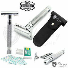 Mens Traditional Vintage Double Edge Safety Razor Gift Set + 10 Shaving Blades