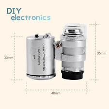60x Pocket Magnifying Glass Microscope Loupe Loop Jewelry LED Light ATF