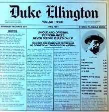 DUKE ELLINGTON - VOLUME THREE - 1953 MATERIAL - STARDUST LBL - LIM.ED. LP