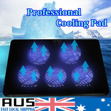 AU Ultra-quiet Laptop Notebook Cooling Pad 5 Fans Blue LED USB Cooler 12''-17''