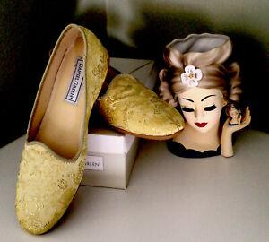VTG Daniel Green Comfy Gold Brocade Slippers House Shoes Sz 7 1/2 New Box