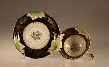 Shafford Black with Green and Gold Laurel Leaf Cup and Saucer, Made In Japan
