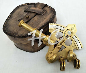 """Antique Brass Sextant 4"""" in Leather Case Nautical Henry Barrow Pocket Sextant"""