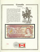 Canada 2 Dollars 1974 P86a UNC w/FDI UN FLAG STAMP  Prefix AGE