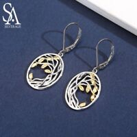 SA SILVERAGE 925 Sterling Silver Tree of Life Drop Earrings for Woman 925 Silver