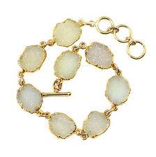 White Drusy Bracelet 14k Gold Filled 7 8 Inch Adjustable Fine Druzy Chain Link
