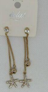 Gold Dangle Starfish  Earrings Rhinestone Dazzle Sparkle Chain long