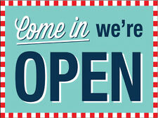 Vintage COME IN WE'RE OPEN Metal Sign - NEW