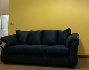 Flannelette Fabric 3p Sofa Set Sofa Love-seat Chair Living Room Furniture Wood